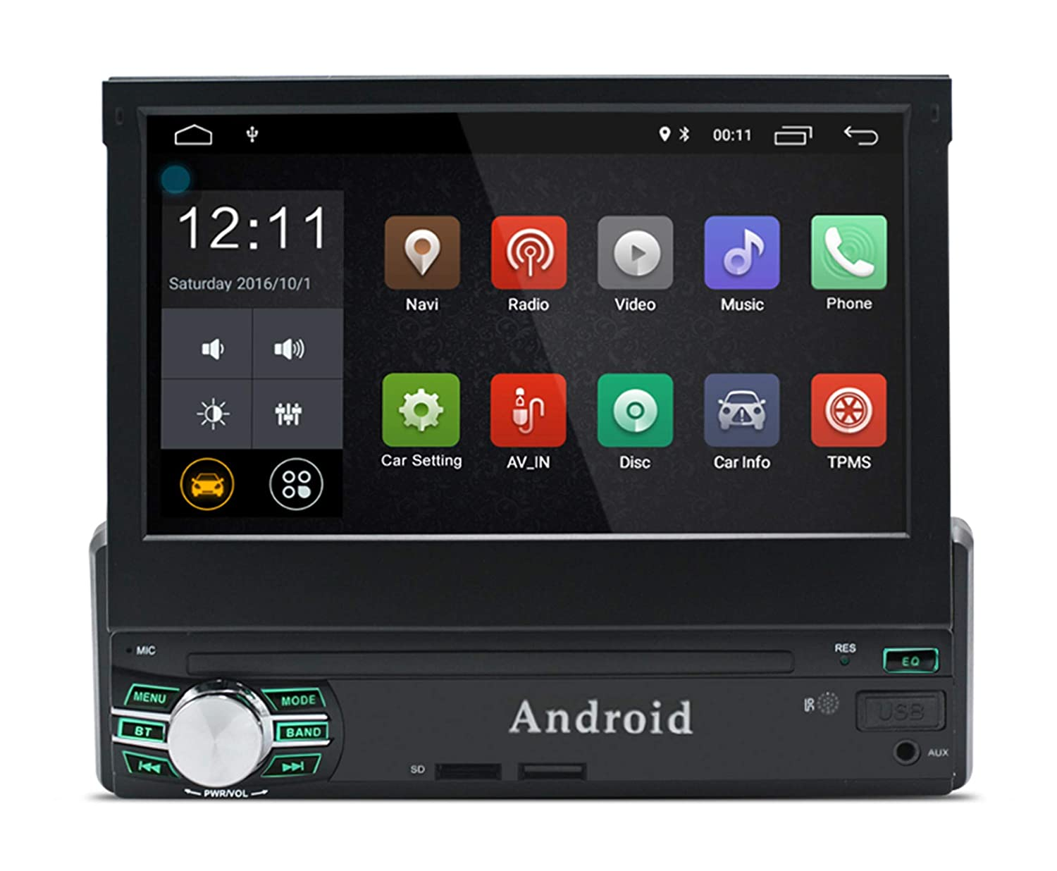 Lexxson Andorid 8.0 single Din 7 inch Car Stereo Touch Screen GPS Navigation in-dash Bluetooth Car Radio support AM FM RDS Wifi Hands Free Multimedia Player