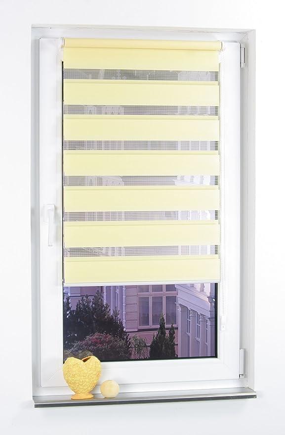 Liedeco® DUO Rollo Klemmfix - 90 x 160 cm lemon yellow (gelb) (Breite x Höhe) / transparent lichtdurchlässig blickdicht und s