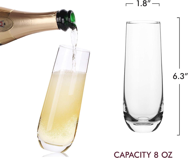 Kristallglas-Fl/öten Geschenk f/ür Brautparty 227 ml mundgeblasen transparent Stiellose Champagnerfl/öten Junggesellinnenabschied Set mit 6 stemless Mimosa Gl/äser Premium-Kristall Hochzeit