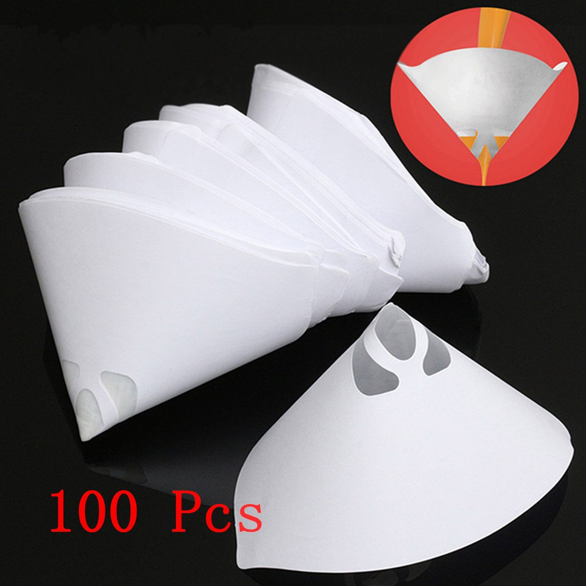 Jeteven 100 Pcs 100 Mesh/147 Micron Paper Paint Strainers Conical Strainers Filter Tip Paper Nylon Mesh Cone Filter Sieve