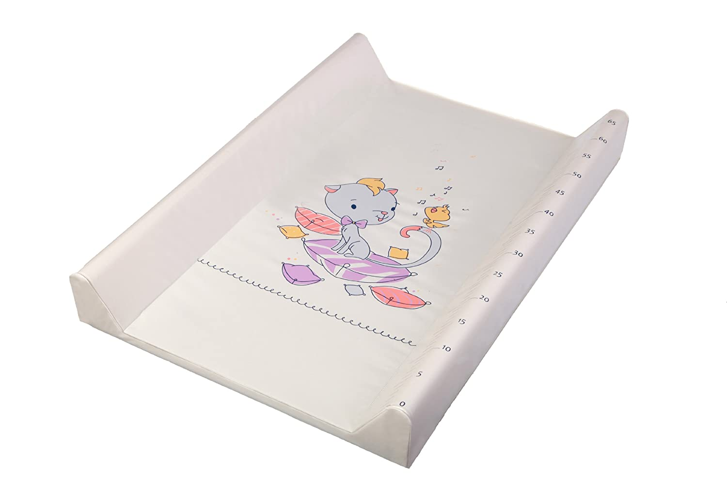 Changing Pad - Changing Mat - Changing Cover - Cotbed Changing Pad - Cot Bet Changing Mat - Changing Mat with hard base - Changing Table Top - with print and measuring growth tape in cm! Kitty, PVC, 70x50 cm Rozeta