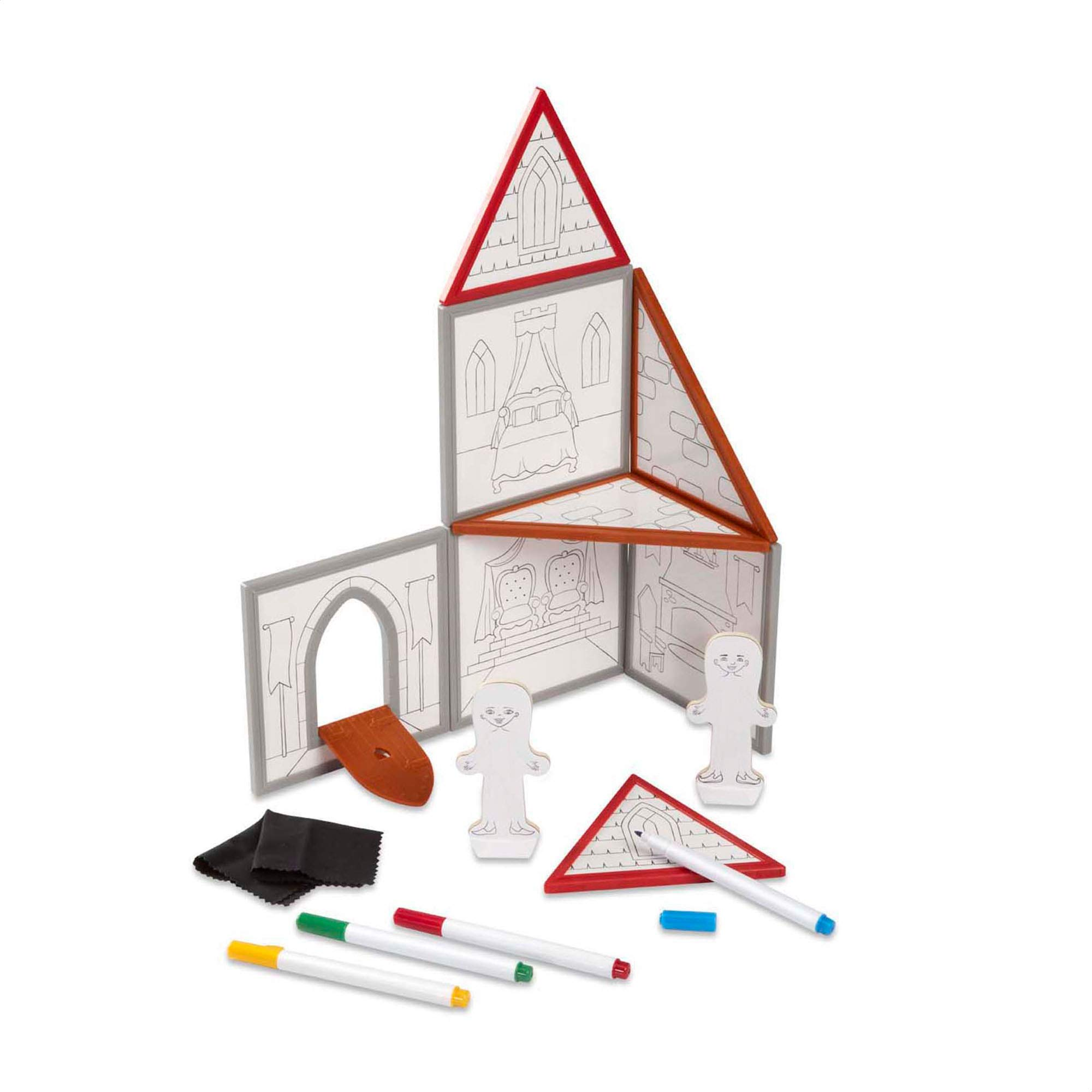Melissa & Doug Magnetivity Magnetic Building Play Set - Draw & Build Castle (15 Pieces, 8 Panels, 4 Dry-Erase Markers, Great Gift for Girls and Boys - Best for 4, 5, 6, 7, 8, 9, and 10 Year Olds) by Melissa & Doug