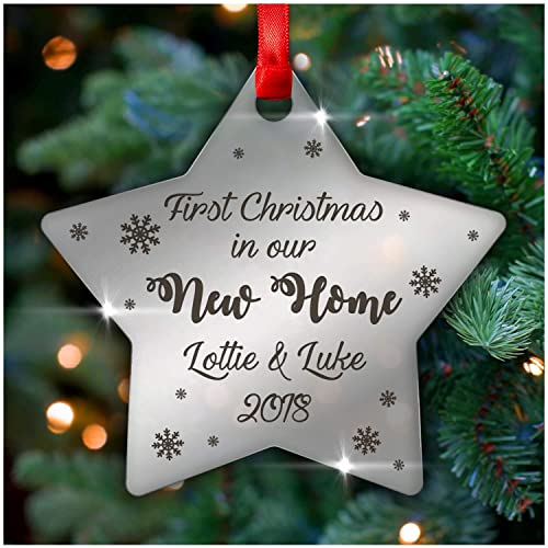 bea4b61ec0f77 First Christmas In Our New Home PERSONALISED STAR Christmas Xmas Tree  Decoration Bauble Gifts - 3mm Mirror Acrylic Christmas Tree Decorations -  Xmas Gifts ...