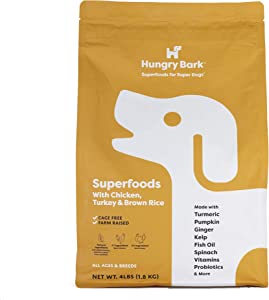 Hungry Bark - Premium Dry Dog Food with Superfoods   for Small & Large Dog Breeds   Real Meat Proteins & Probiotics   Ultra Fresh Resealable Metallic Coated Bag