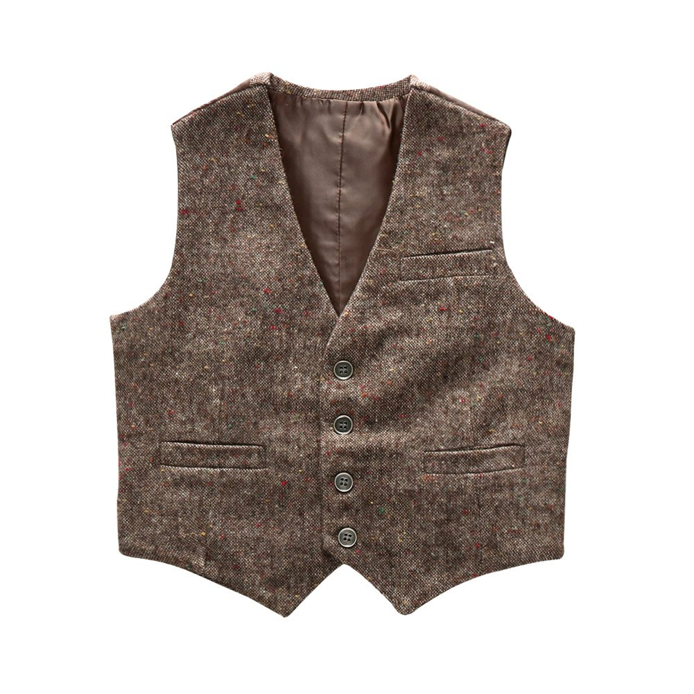 Boys' Girls' Top Design Casual Waistcoat Pockets Buttons V Collar Vests Brown Size 5T