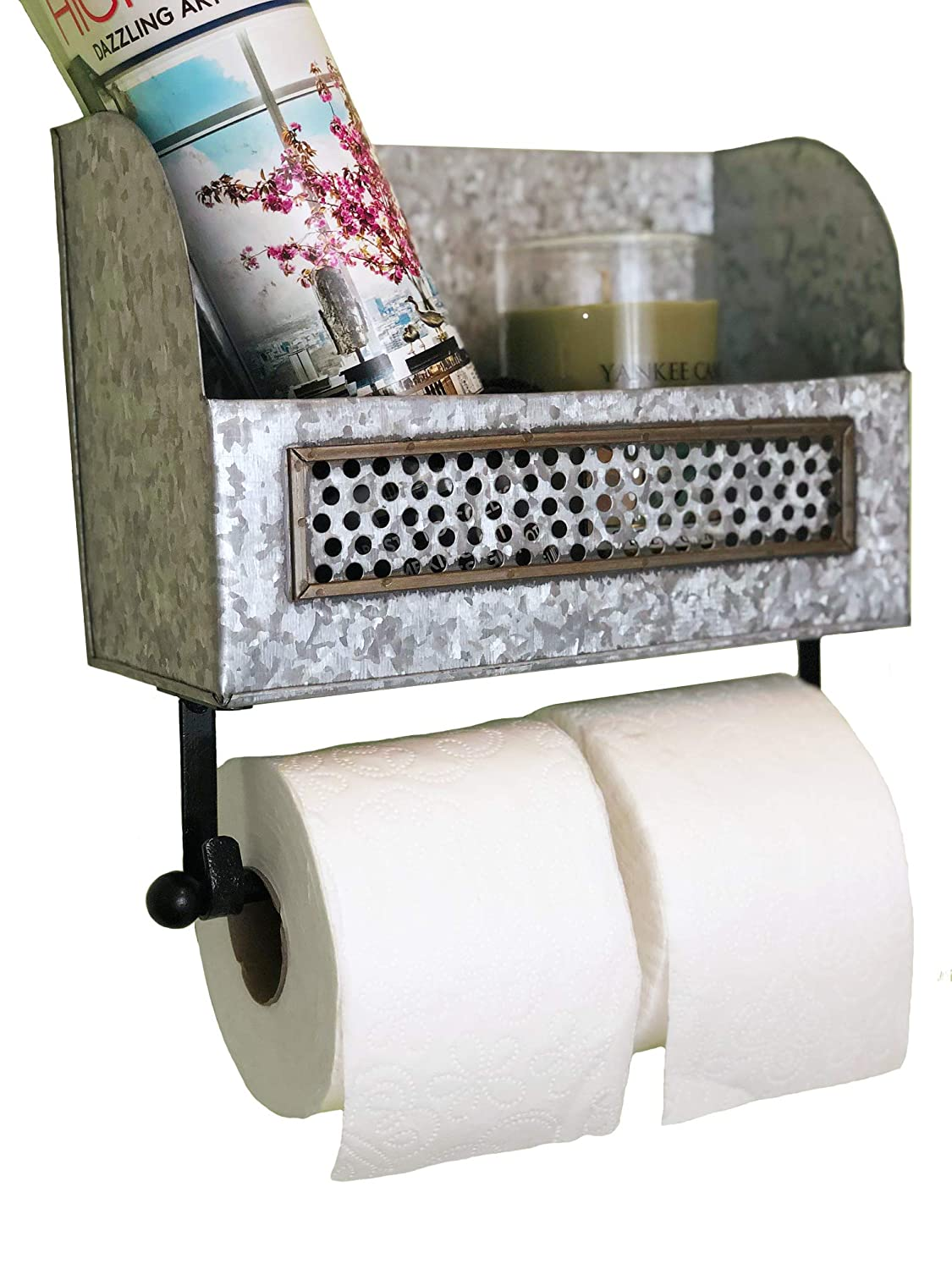 Autumn Alley Farmhouse Galvanized Double Roll Toilet Paper Holder with Shelf | Magazine Rack | Sturdy and Stylish Holder Adds Farmhouse Warmth and Organization