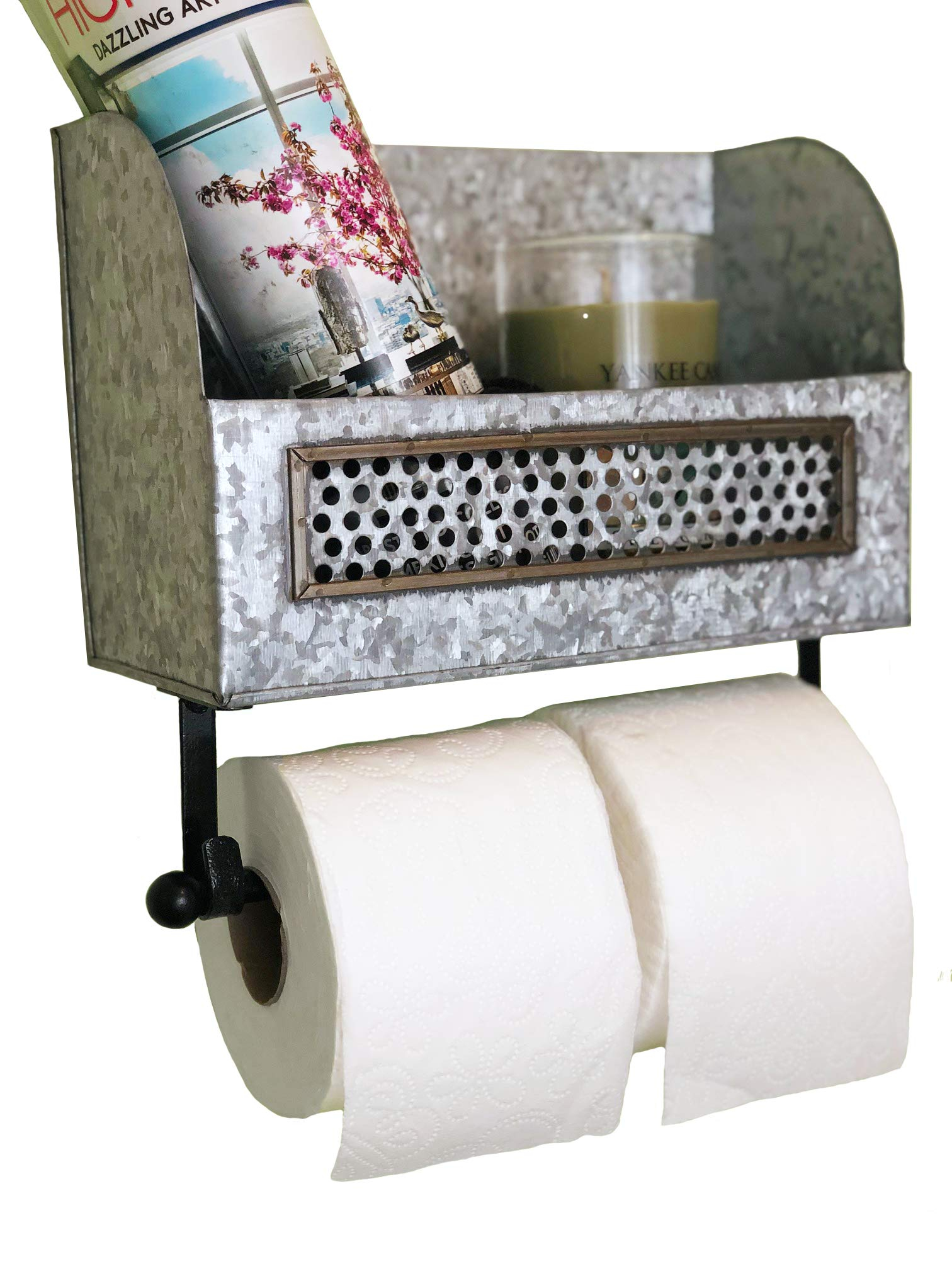 Autumn Alley Farmhouse Galvanized Double Roll Toilet Paper Holder with Shelf   Magazine Rack   Sturdy and Stylish Holder Adds Farmhouse Warmth and Organization by Autumn Alley