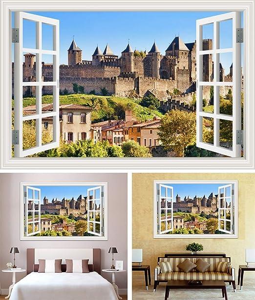 Etiqueta de la pared de la ventana 3d Torre del castillo europeo Edificios históricos arquitectura paisaje papel pintado pvc poster decal art mural dormitorio decoración del hogar: Amazon.es: Bricolaje y herramientas