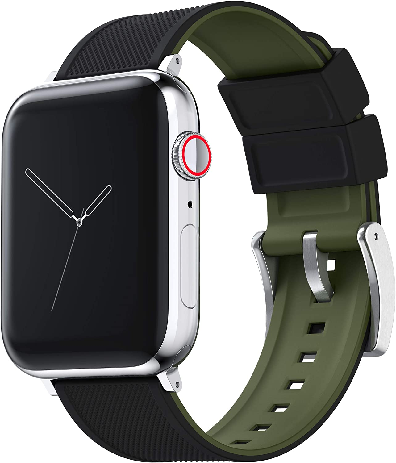 BARTON Watch Bands - Elite Silicone Watch Straps - Black PVD Hardware & Adapters - Quick Release - Choose Color & Size - Compatible with All Apple Watches - 38mm, 40mm, 42mm, 44mm
