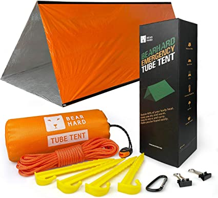Bearhard Emergency Tent Hiking Stakes Ultralight Survival Tent Emergency Shelter Use as Survival Gear Space Blanket for Camping 2 Person Tube Tent Survival Shelter with Paracord Kayaking