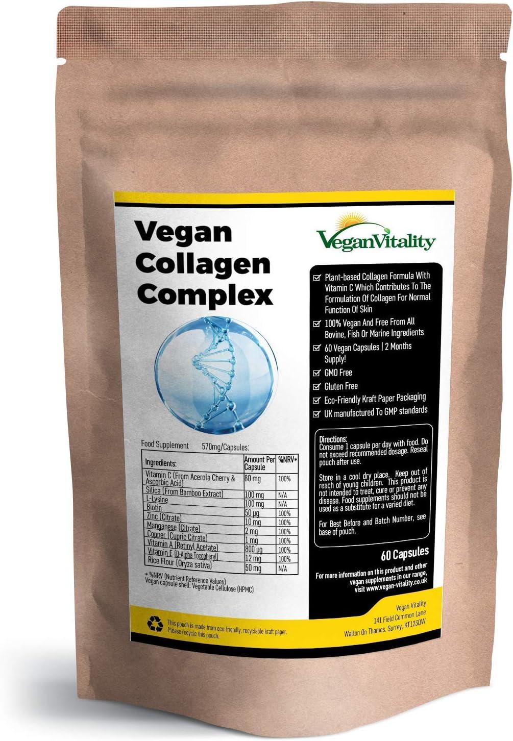 Suplemento De Colágeno Vegano Con Biotina, Liosina, Sílice De Bambú, Zinc, Vitamina C, E, Y A Para Piel, Pelo, Uñas, Articulaciones Y Huesos | Suministro De 2 Meses | Vegano Y Vegetariano | Natural