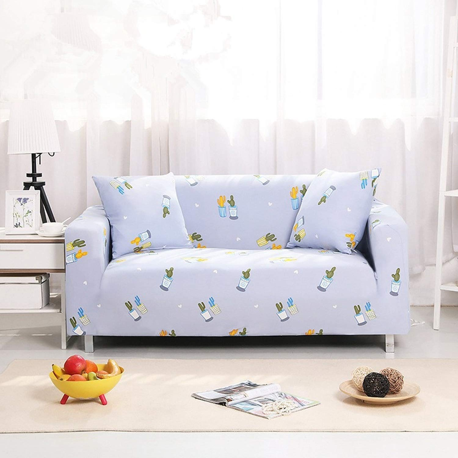 Amazon.com: Miracle day White Blue Grid Sofa Cover Couch ...