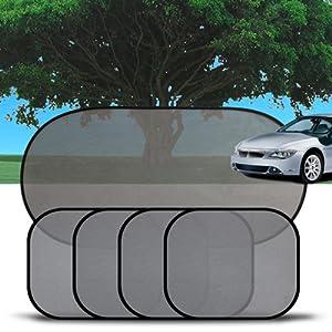 XFAY Pare-soleil Fenêtre de Voiture Auto Bébé Enfant - Refletant Rayon et Absorbant les Rayons Utraviolets - Grille Noir Semitransparent - 5 Pièces Kit