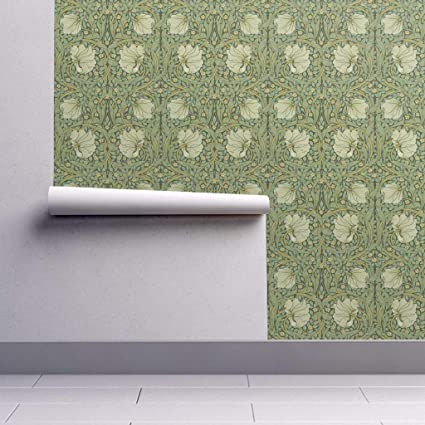 Peel And Stick Removable Wallpaper Floral William Morris Damask Pimpernel Sage Green Vines By Peacoquettedesigns 24in X 60in Woven Textured