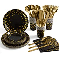 Black and Gold Party Supplies 175 Pieces Golden Dot Disposable Party Dinnerware - Black Paper Plates Napkins Cups, Gold…