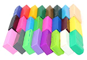 24 Pcs Colored Blocks Polymer Clay Soft Craft Oven Bake Modelling Clay with Accessories DIY Clay for Children,0.7LB