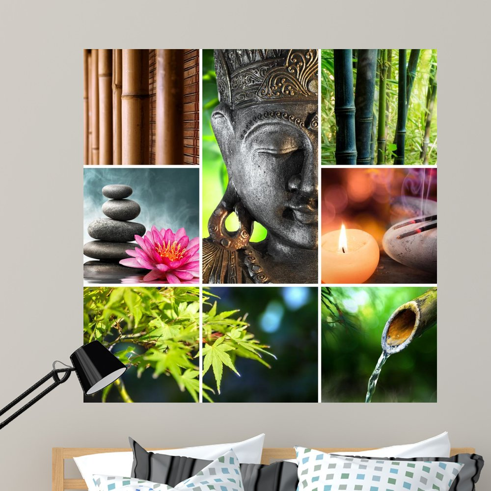 Wallmonkeys Zen Buddha Collage Spa Wall Mural Peel and Stick Business Graphics (48 in H x 48 in W) WM136178