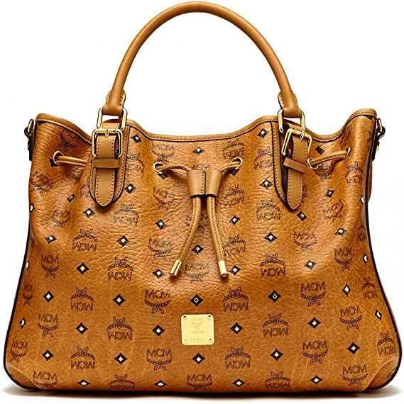 MCM Damen Handtasche Drawstring Medium Cognac: