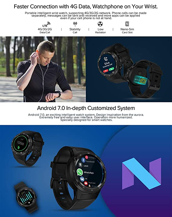 Amazon.com: Thor 4 Flagship 4G LTE GPS SmartWatch Android 7.0 MTK6737 Quad Core 1GB+16GB 5.0MP 580mAh 4G/3G/2G Data Call Watch Men: Cell Phones & ...