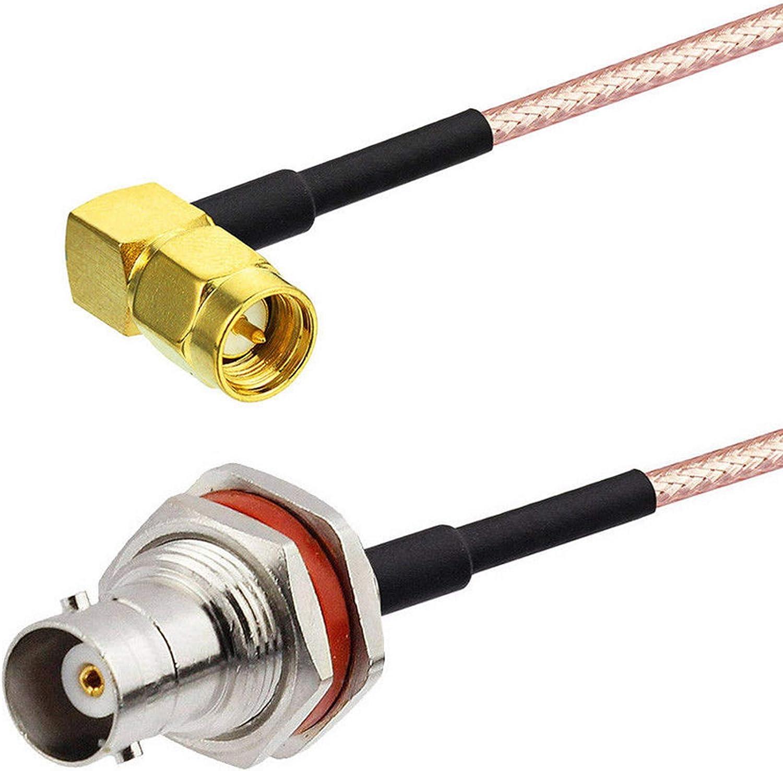 RG316 SMA FEMALE to BNC FEMALE BIG BULKHEAD Coaxial RF Cable USA-US