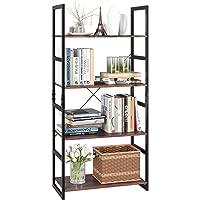 Homfa Bookshelf Rack Vintage Bookcase Shelf Storage Organizer Modern Wood Look Accent Metal Frame Furniture Home Office