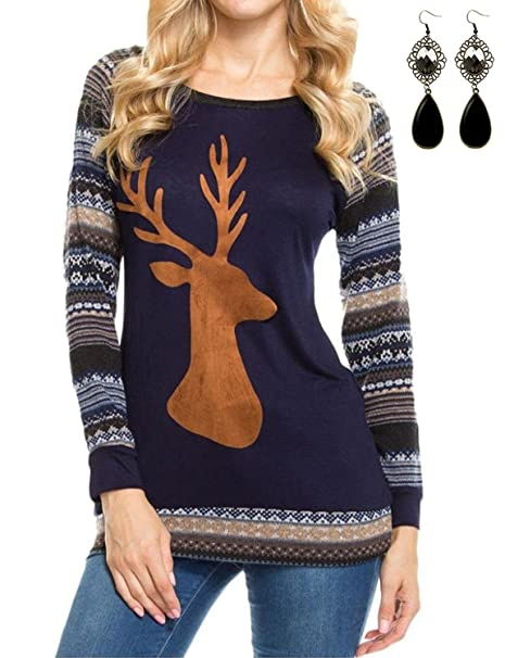 Sitengle Para Mujer Moda Camisetas Manga Larga de Cuello Redondo con Elk Deer Impresa Empalmado Pullover