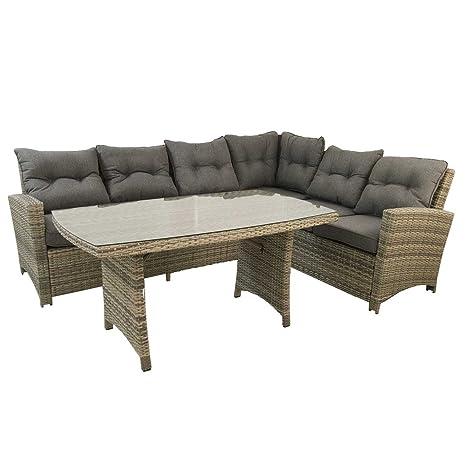 Edenjardi Conjunto sofás de Exterior esquinero 3+2, Aluminio ...