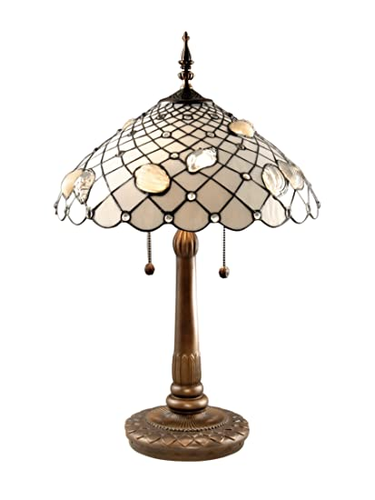 Dale Tiffany TT60055 Tiffany Shells Table Lamp, Antique Brass And Art Glass  Shade