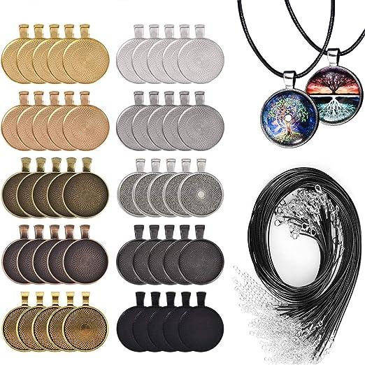 Calistouk 100 piezas-50 Piezas de Conjuntos de bandejas Colgantes con Bisel Redondo con 50 Piezas de cord/ón de Collar Encerado Negro para Colgar Fotos