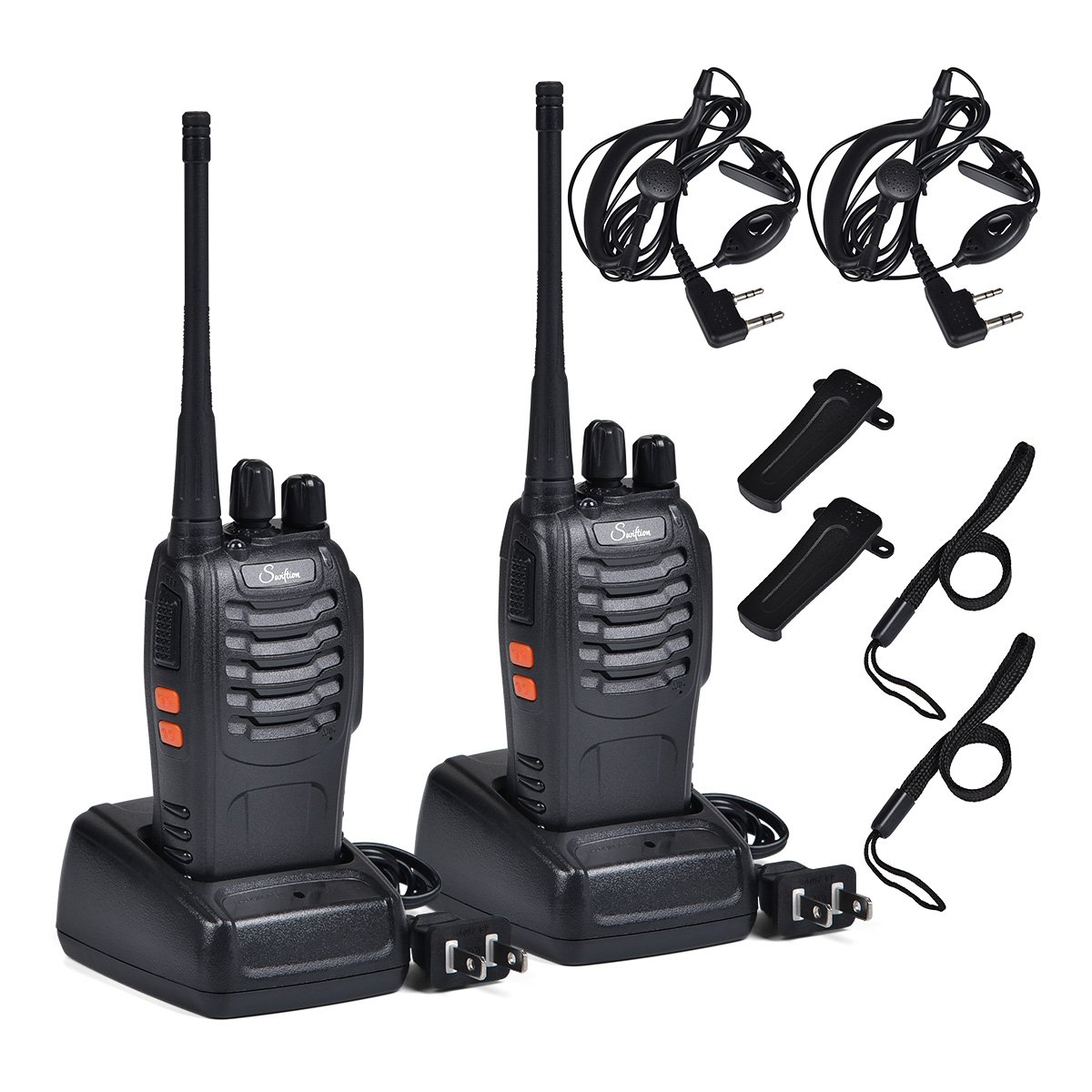 Rechargeable Kids Walkie Talkies Professional Interphone for Hunting for Police BF-888S two way radios Long range Rechargeable with Charger earphone (with Earpiece)