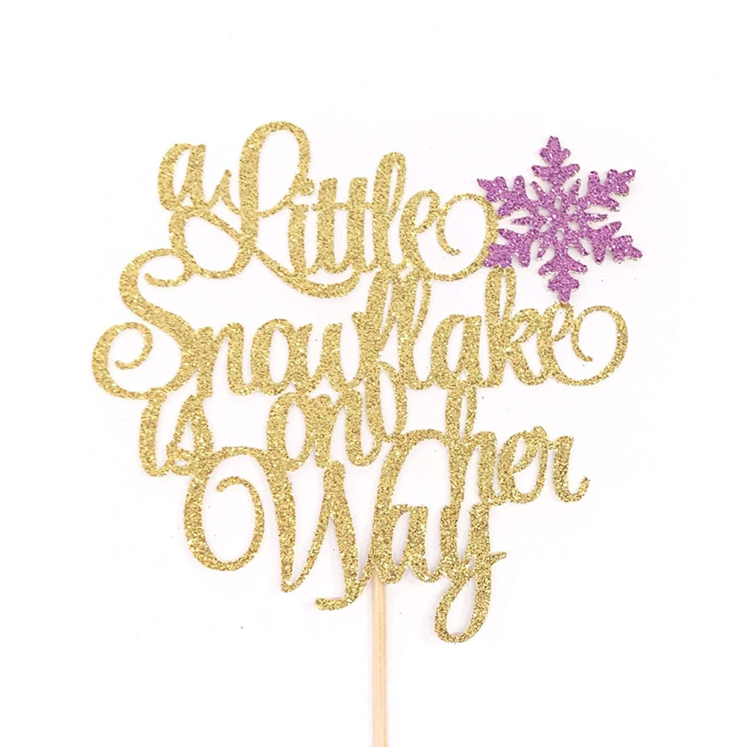 Atelier Elegance A Little Snowflake is on her Way Cake Topper Girl Snowflake Baby Shower Topper