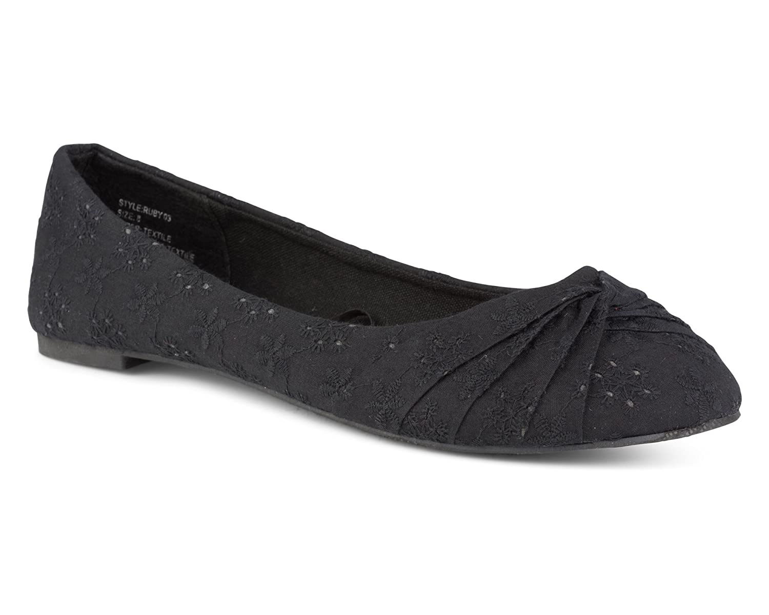 Twisted Women's Ruby Floral Canvas Knotted Toe Ballet Flat
