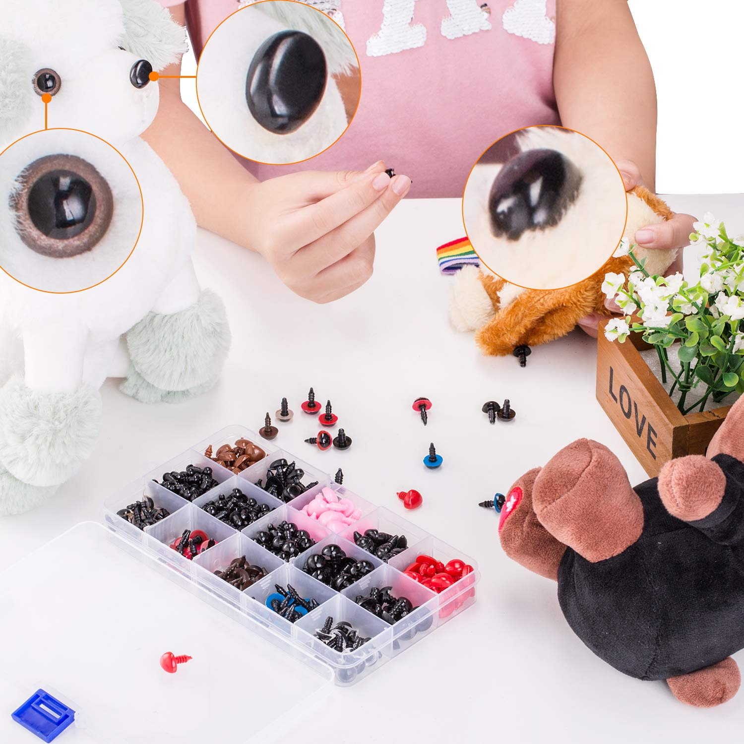 Colorful Plastic Safety Eyes and Noses Assorted Sizes for Doll Plush Animal and Teddy Bear Craft Making by AMOKIA 752pcs Safety Eyes and Safety Noses with Washers for Doll
