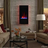 "Clevr 32"" Vertical Wall Mounted Modern Black Electric Heat Fireplace Heater with Adjustable LED Back Light Colors, Decorative Crystals, CSA and UL Certified, 1500W"