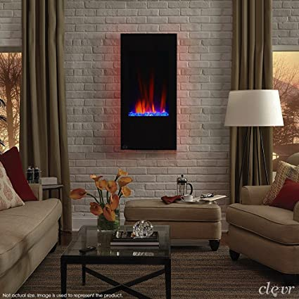 Clevr 32u0026quot; Vertical Wall Mounted Modern Black Electric Heat Fireplace  Heater With Remote Adjustable LED