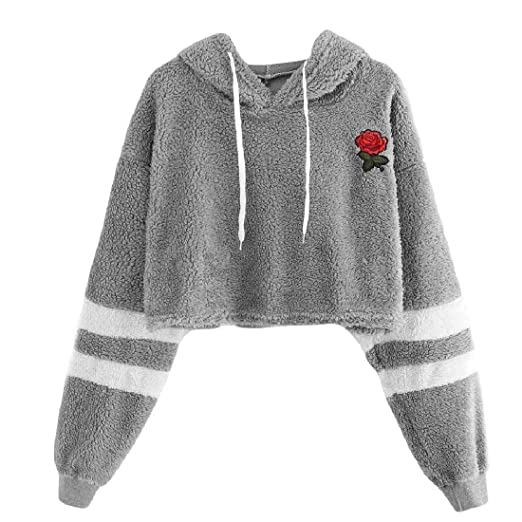 Winwinus Women Floral Embroidery Cashmere Sweater Hooded Crop Tops 2