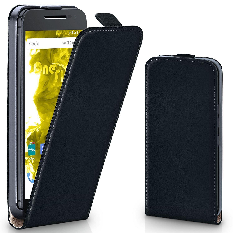 Moto G4 Case, OneFlow [Classic Magnetic Clip Design] Premium PU 360° Vertical Flip Case for Lenovo Moto G4 Faux Leather Flip Cover - Deep-Black