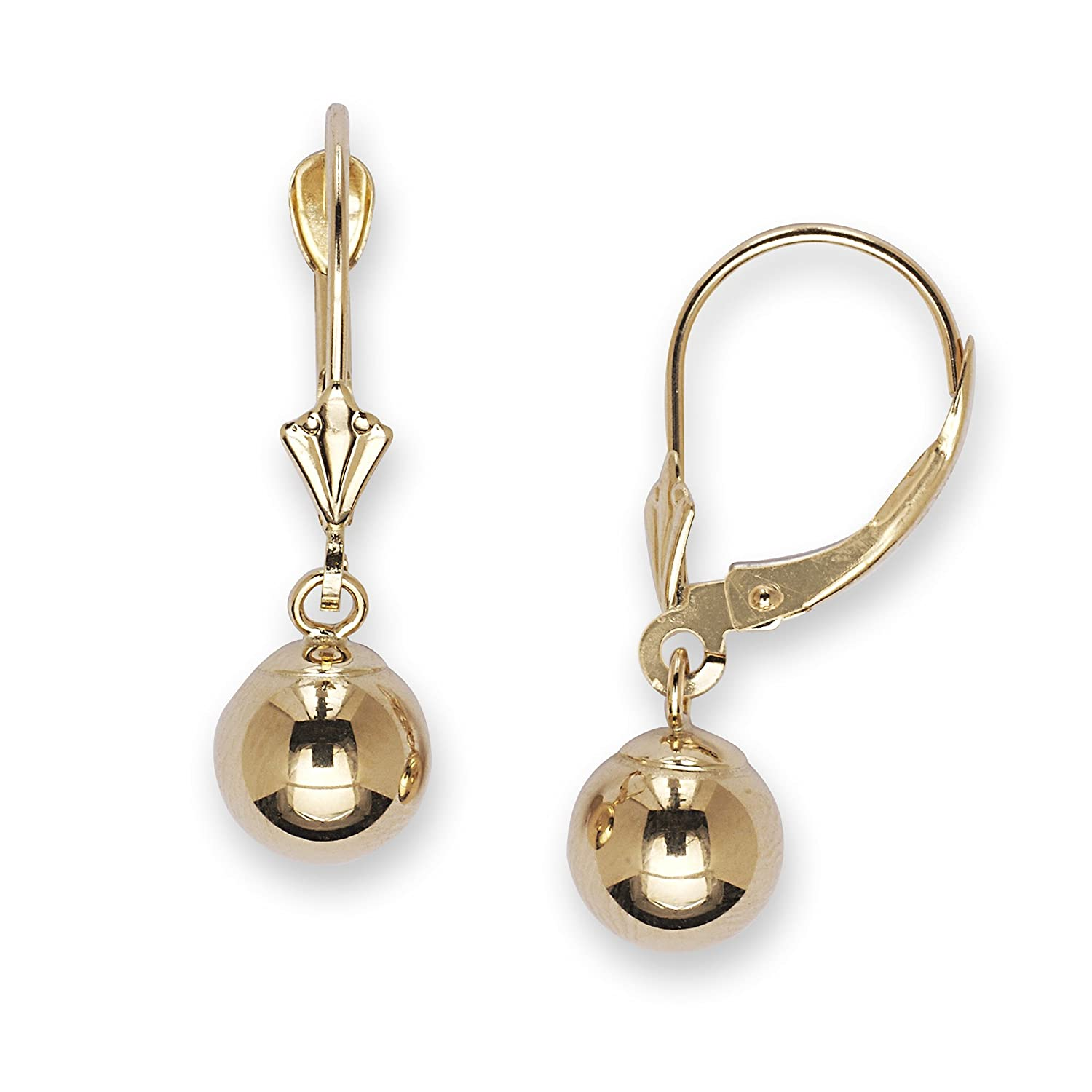 d985a8e27 Amazon.com: 14k Yellow Gold Large Ball Drop Leverback Earrings - Measures  27x8mm: Dangle Earrings: Jewelry
