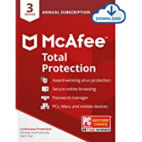 McAfee Total Protection 2020 Antivirus Internet Security Software, 3 Device Password Manager, Parental Control, Privacy, 12-month with Auto Renewal - Amazon Exclusive Subscription