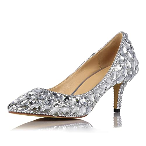 042c67e85e8 NBWE Bridal Silver Crystal Wedding Shoes Rhinestone high Heel Platform  Banquet Sandals Sexy Nightclub Dance Shoes  Amazon.co.uk  Shoes   Bags