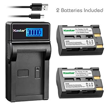 Kastar Battery (X2) & LCD Slim USB Charger for Pentax D-Li50 and Pentax K10 K10D K20 K20D Konica Minolta NP-400 Sigma BP-21 A-5 A-7 Dimage A1 A2 Dynax ...