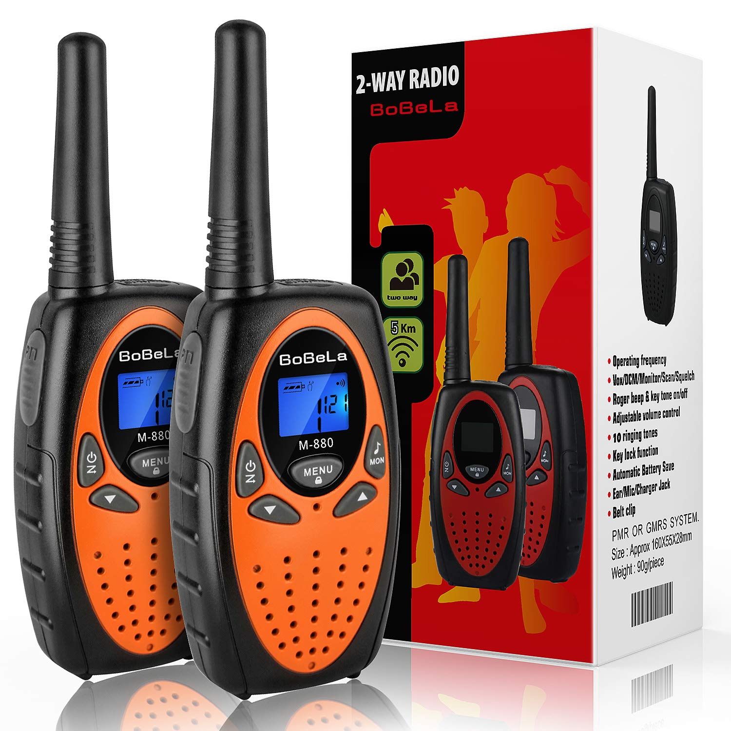 Bobela Camping and Cruise Ship Accessories, Handheld Walky Talky with Belt Clip for Adults,Easy to Use Walkie Talkies for Family Travel Trip(M880 Orange,2 Pack) by Bobela (Image #1)