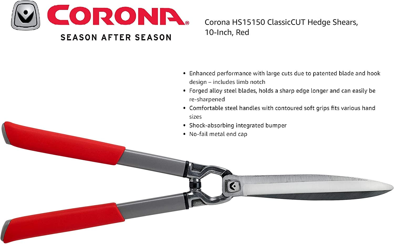 10-Inch Red Corona HS15150 ClassicCUT Hedge Shears