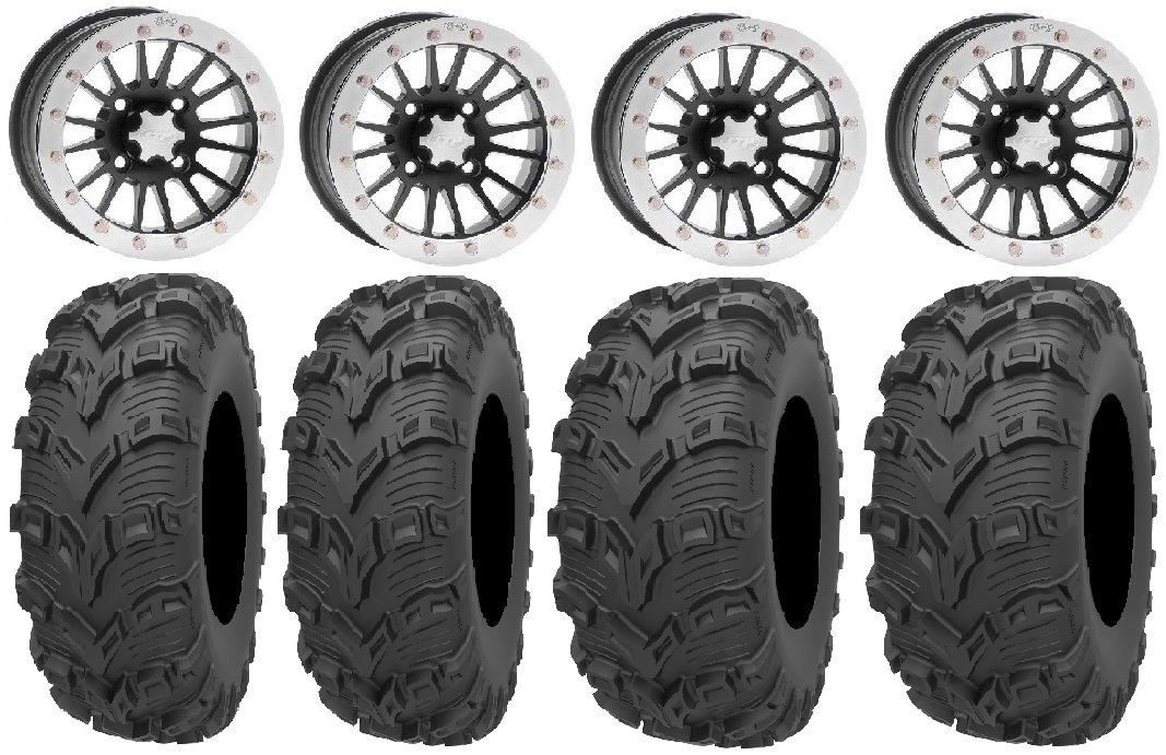 Bundle - 9 Items: ITP SD Dual Beadlock 14'' Wheels 26'' Bear Claw EVO Tires [4x110 Bolt Pattern 10mmx1.25 Lug Kit]