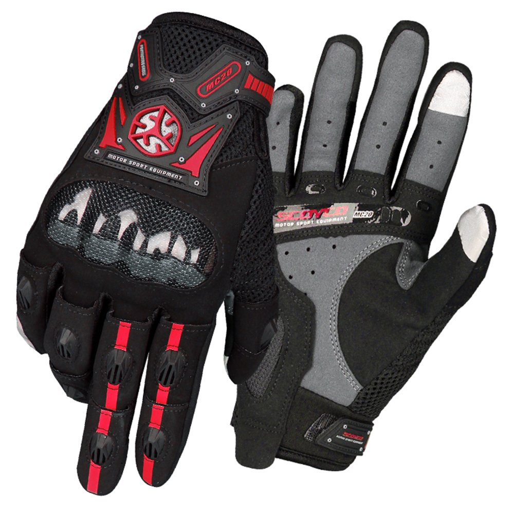 SCOYCO Screen Sensitive Carbon Fiber Knuckle Reinforced Breathable Shockproof Wear Resistant Warm Crashproof Cycling Racing Motorcycle Gloves(BLACK, XL) SY-MC20-BC-L