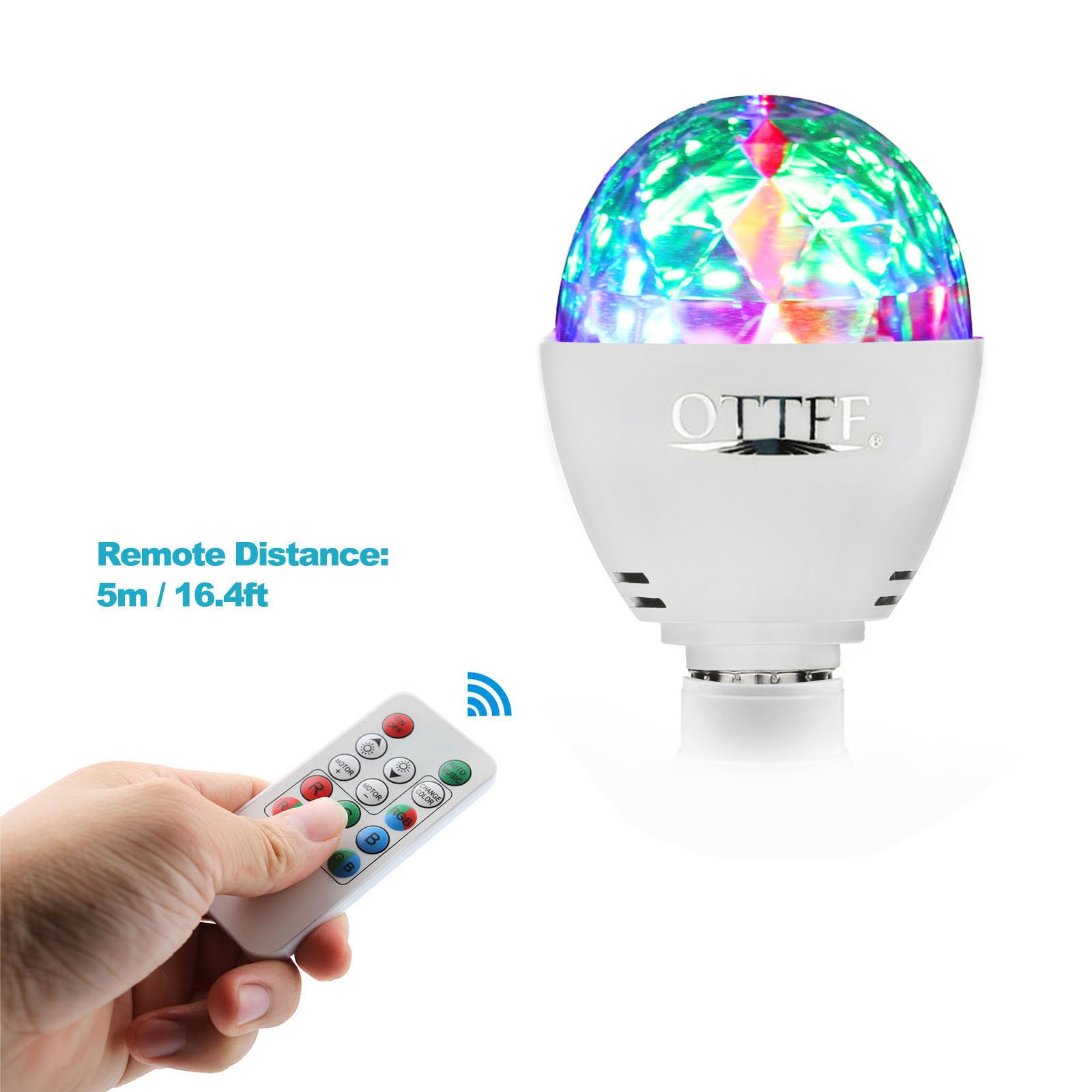 OTTFF 3W E27 Disco Ball Lamp RGB Rotating LED Sound Activated Strobe Lights Party Bulb Stage Light for Family Parties,Birthday,Desk Lamp with Remote Control by OTTFF (Image #10)