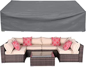 Patio Furniture Cover, 420D Large Waterproof Outdoor Furniture Cover with Windproof Buckles, Premium Rectangular Patio Table Cover Outdoor Sectional Sofa Cover 126 x 63 x 29 inch