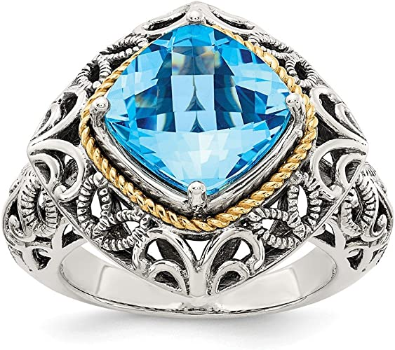 Sterling Silver with 14k Blue Topaz Ring