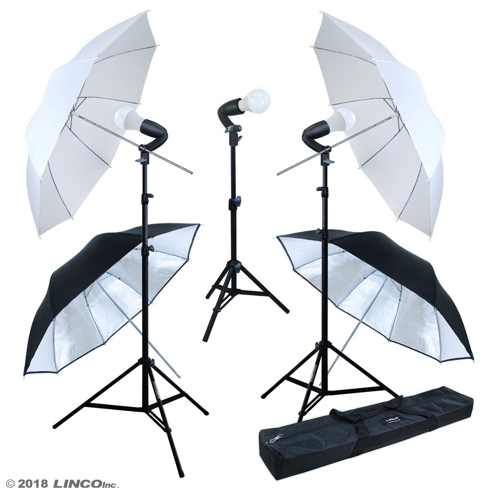 LINCO Lincostore Studio Lighting LED 2400 Lumens Umbrella Light Kit AM249