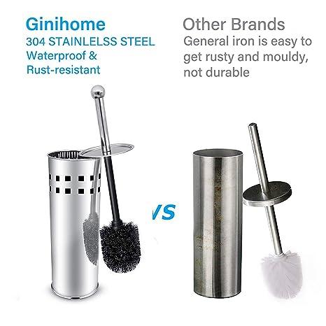 Amazon.com: GiniHome - Escobilla de inodoro y soporte, acero ...